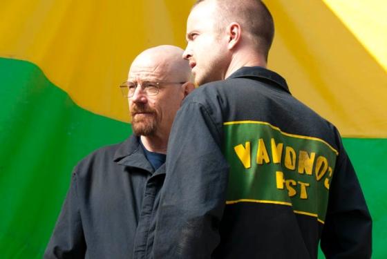 "Walter (Bryan Cranston) and Jesse (Aaron Paul) in Breaking Bad's ""Hazard Pay."" (AMC)"