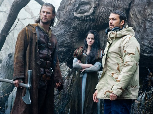 Kristen Stewart, Chris Hemsworth and Rupert Sanders in Snow White and the Huntsman. (Universal)
