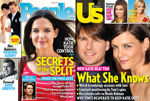 Katie Holmes on the cover of People and Us Weekly.