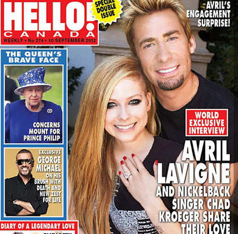 Avril Lavigne and Chad Kroeger announced their engagement on the cover of Hello magazine.