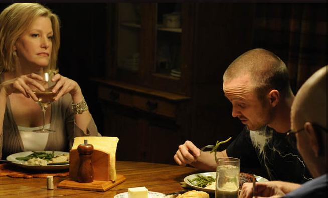 "Skyler (Anna Gunn), Jesse (Aaron Paul) and Walter (Bryan Cranston) in Breaking Bad's ""Buyout."" (AMC)"
