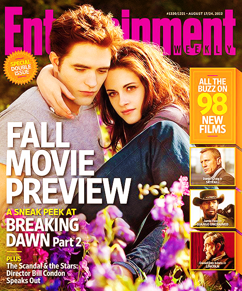 Robert Pattinson and Kristen Stewart on the cover of EW`s 2012 Fall Movie Preview.