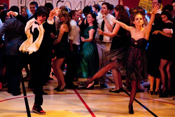 Emma Watson and Ezra Miller dance in a scene from The Perks of Being a Wallflower.