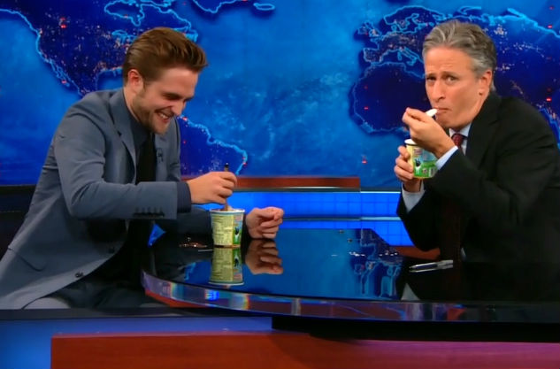 Robert Pattinson and Jon Stewart on The Daily Show, Aug. 13, 2012.