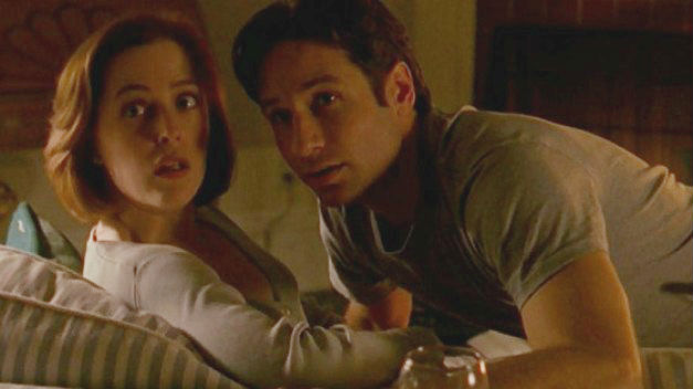 Gillian Anderson (Scully) and David Duchovny (Mulder) in The X Files.