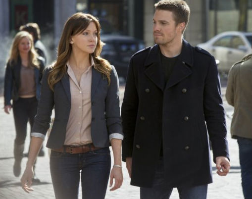 Katie Cassidy and Stephen Amell in The CW's Arrow.
