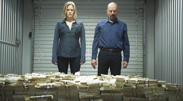 "Skyler (Anna Gun) and Walter (Bryan Cranston) in a scene from Breaking Bad's ""Gilding All Over."" (AMC)"