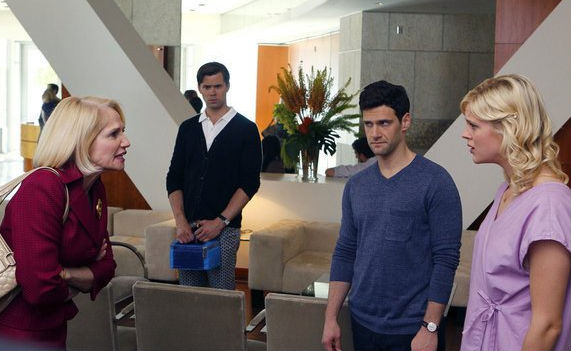 Ellen Barkin, Justin Bartha, Andrew Rannells and Georgia King in The New Normal.