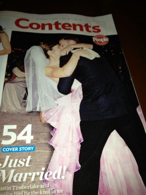 Jessica Biel and Justin Timberlake's wedding in People magazine.