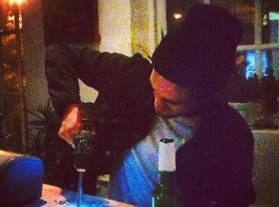 Robert Pattinson at a NYC club Monday night. (@killawolf via Instagram)