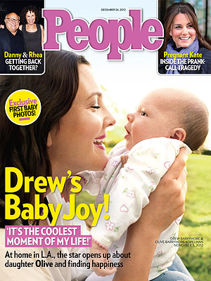 Drew Barrymore and her daughter Olive on the cover of People.
