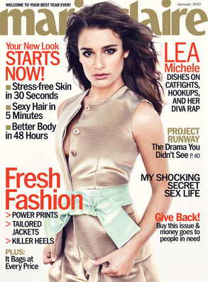 Lea Michele of Glee on the January 2013 cover of Marie Claire.