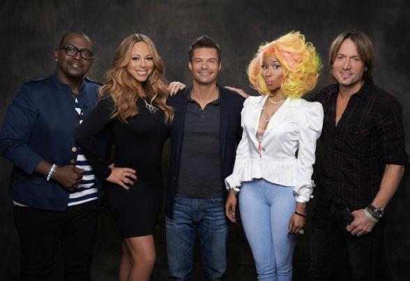 Mariah Carey, Ryan Seacrest, Randy Jackson, Keith Urban and Nicki Minaj in American Idol. (Fox)