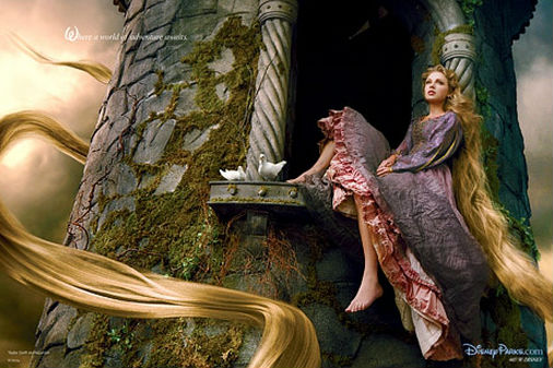 Taylor Swift is featured as Rapunzel in an ad for Disney. (Credit: Annie Leibovitz for Disney Parks)